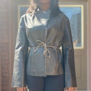 NWOT Guess Leather Blazer with Leather tie Belt, S